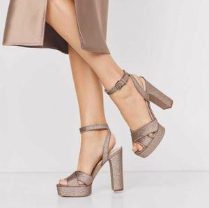 Aldo 💫 Champagne High Heel Sandal Block Heel